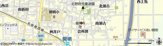 愛知県一宮市開明(雲閑寺郭)周辺の地図