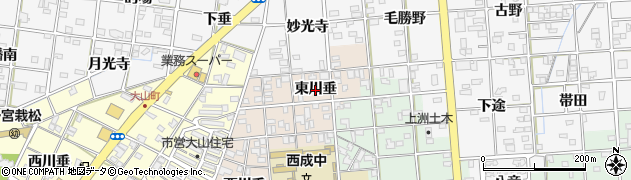 愛知県一宮市柚木颪(東川垂)周辺の地図