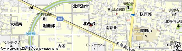 愛知県一宮市開明(北西沼)周辺の地図
