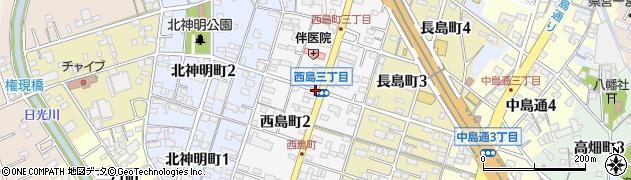 愛知県一宮市西島町周辺の地図