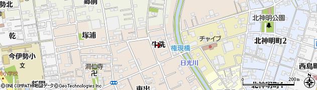 愛知県一宮市今伊勢町本神戸(牛洗)周辺の地図