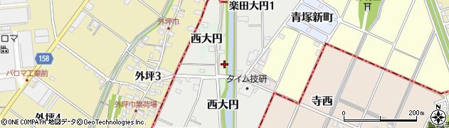 愛知県犬山市楽田大円周辺の地図