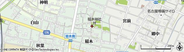 愛知県江南市寄木町(稲木)周辺の地図