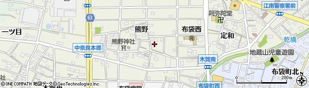 愛知県江南市中奈良町(熊野)周辺の地図