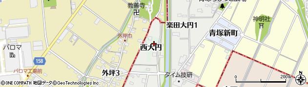愛知県犬山市西大円周辺の地図