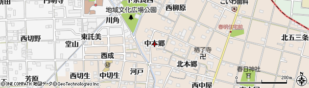 愛知県一宮市春明(中本郷)周辺の地図