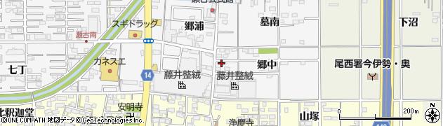 愛知県一宮市奥町(郷中)周辺の地図