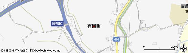 京都府綾部市有岡町周辺の地図