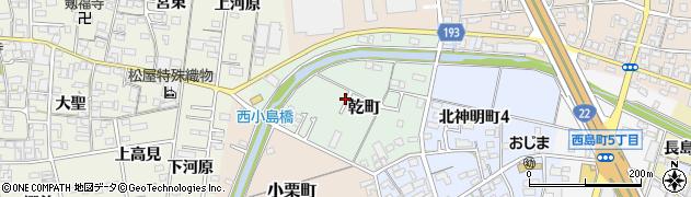愛知県一宮市乾町周辺の地図