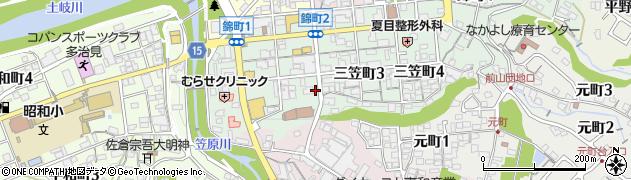 岐阜県多治見市三笠町周辺の地図