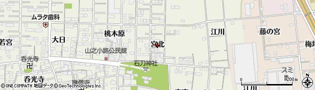 愛知県一宮市今伊勢町馬寄(宮北)周辺の地図