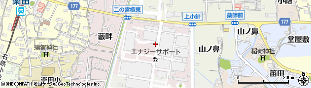 愛知県犬山市上小針周辺の地図