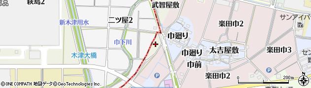 愛知県犬山市羽黒新田(武智屋敷)周辺の地図
