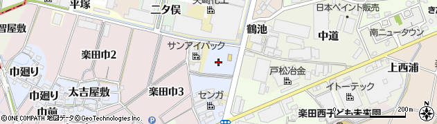 愛知県犬山市楽田鶴池周辺の地図