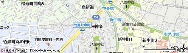 岐阜県羽島市竹鼻町(神楽)周辺の地図