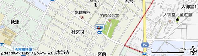 愛知県江南市力長町周辺の地図