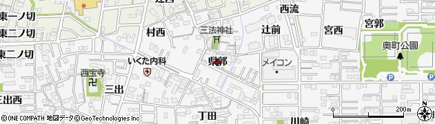 愛知県一宮市奥町(県郭)周辺の地図