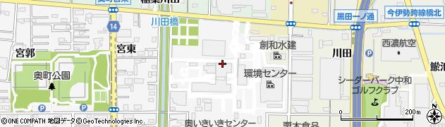愛知県一宮市奥町(六丁山)周辺の地図