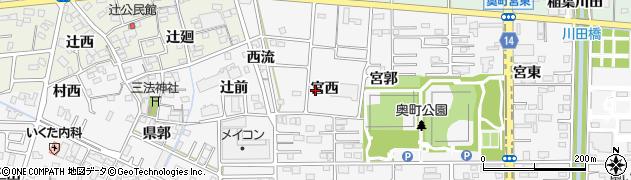 愛知県一宮市木曽川町三ツ法寺(宮西)周辺の地図