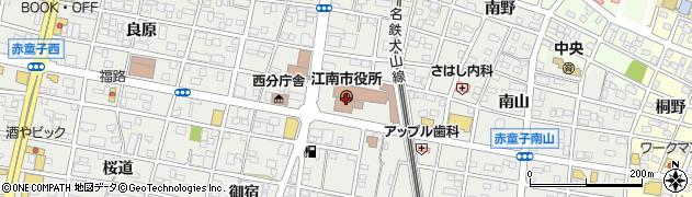 愛知県江南市周辺の地図