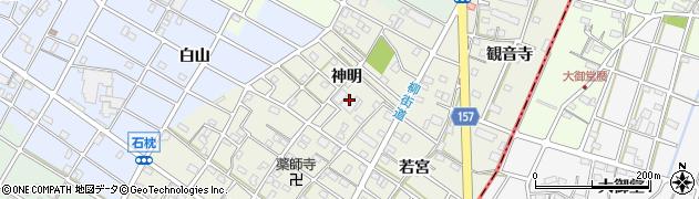 愛知県江南市力長町(神明)周辺の地図
