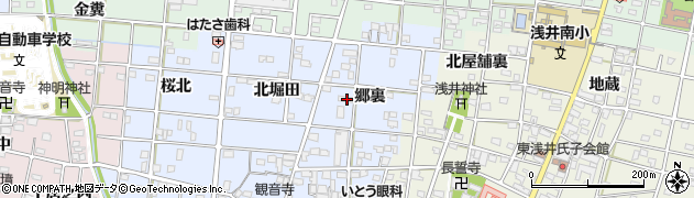 愛知県一宮市浅井町西浅井(郷裏)周辺の地図
