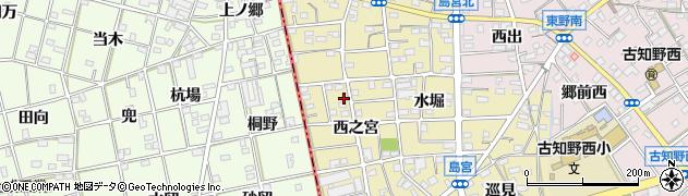 愛知県江南市島宮町(西之宮)周辺の地図
