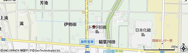 愛知県一宮市木曽川町外割田(上稲葉)周辺の地図