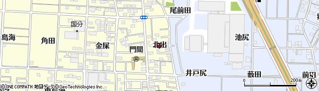 愛知県一宮市木曽川町門間(北出)周辺の地図