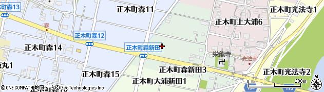 岐阜県羽島市正木町森新田周辺の地図