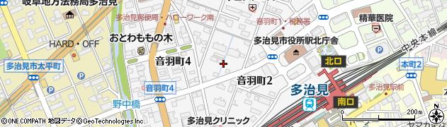 岐阜県多治見市音羽町周辺の地図