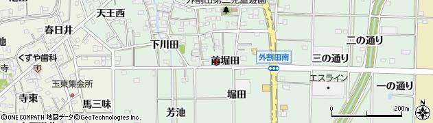 愛知県一宮市木曽川町外割田(前堀田)周辺の地図
