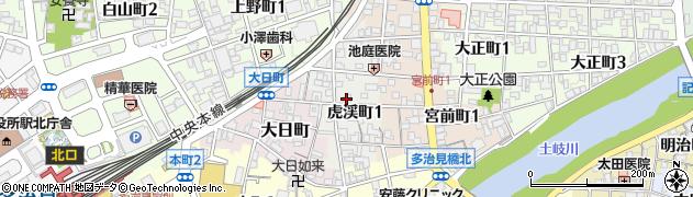 岐阜県多治見市虎渓町周辺の地図
