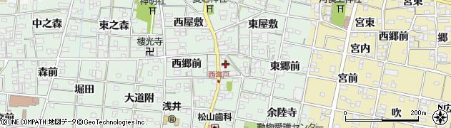 愛知県一宮市浅井町西海戸(中屋敷)周辺の地図