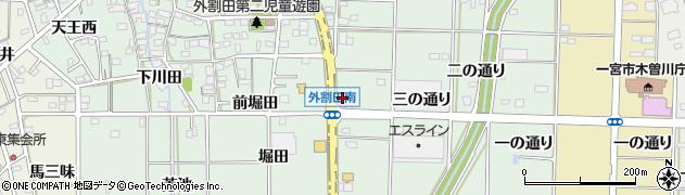 愛知県一宮市木曽川町外割田(勝橋川田)周辺の地図