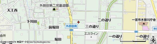 愛知県一宮市木曽川町外割田(四の通り)周辺の地図