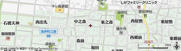 愛知県一宮市浅井町江森周辺の地図
