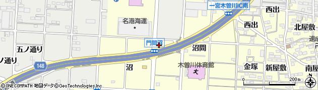 愛知県一宮市木曽川町門間(北沼)周辺の地図