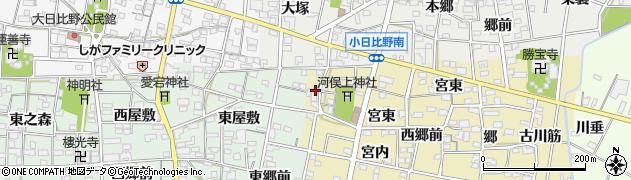 愛知県一宮市浅井町河端(宮西)周辺の地図