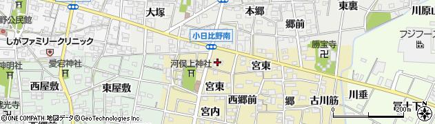 愛知県一宮市浅井町河端(宮内)周辺の地図