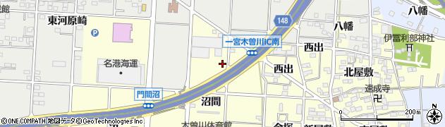 愛知県一宮市木曽川町門間(沼梯)周辺の地図