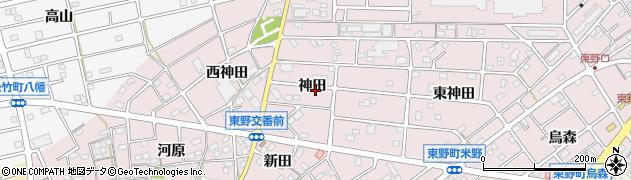 愛知県江南市東野町(神田)周辺の地図