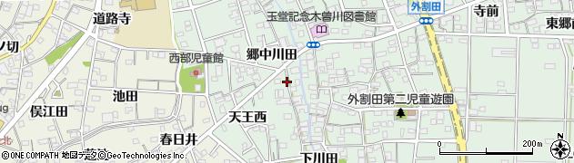 愛知県一宮市木曽川町外割田(郷中川田)周辺の地図