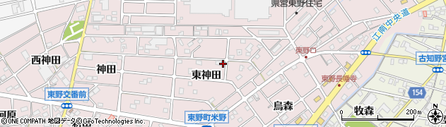 愛知県江南市東野町(東神田)周辺の地図