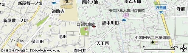 愛知県一宮市木曽川町外割田(西郷西)周辺の地図
