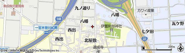 愛知県一宮市木曽川町黒田(南一本松)周辺の地図
