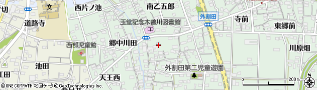愛知県一宮市木曽川町外割田(西郷中)周辺の地図