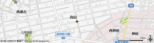愛知県江南市松竹町(高山)周辺の地図