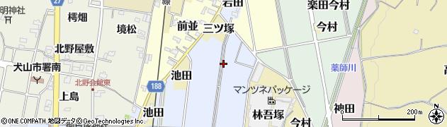 愛知県犬山市楽田三ツ塚周辺の地図