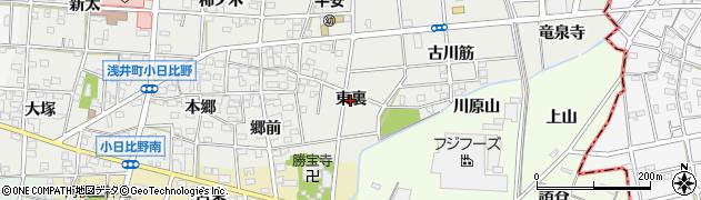 愛知県一宮市浅井町小日比野(東裏)周辺の地図